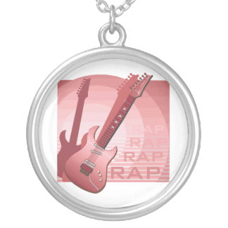 electric guitar rap word music red.png silver plated necklace