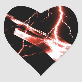 Electric Guitar Red Heart Sticker