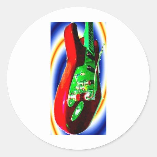 electric guitar red neon.jpg pegatina redonda