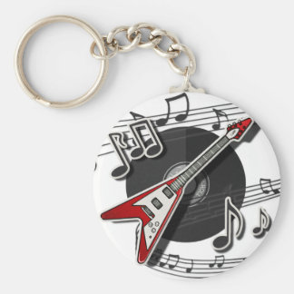 Electric Guitar Rock & Roll Notes Music Cool Keychain