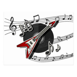 Electric Guitar Rock & Roll Notes Music Cool Postcard