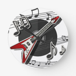 Electric Guitar Rock & Roll Notes Music Cool Round Clock