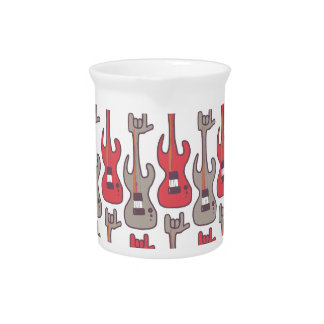 Electric-guitar-rocks-rock-hand-pattern Drink Pitchers
