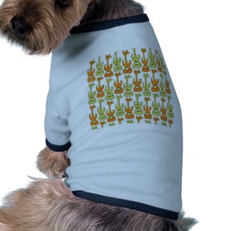 Electric guitar rocks with rock-hand pattern doggie tee