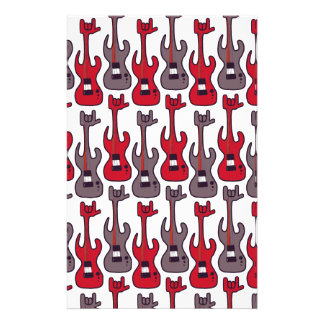 Electric guitar rocks with rock-hand pattern stationery
