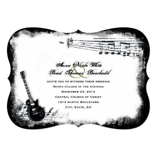 Guitar Wedding Songs: Electric Guitar Rough Music Wedding Invitation