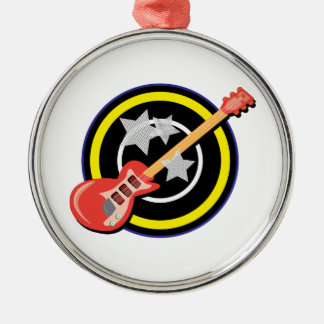 Electric Guitar Round Metal Christmas Ornament