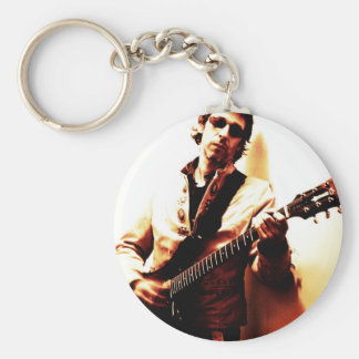 Electric Guitar Sepia Basic Round Button Keychain