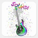 Electric Guitar Sound Colors Square Sticker
