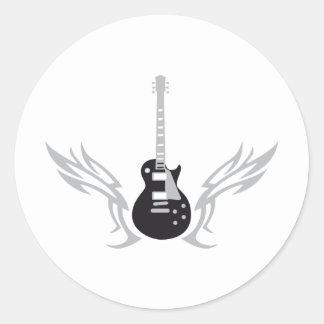 Electric guitar round sticker