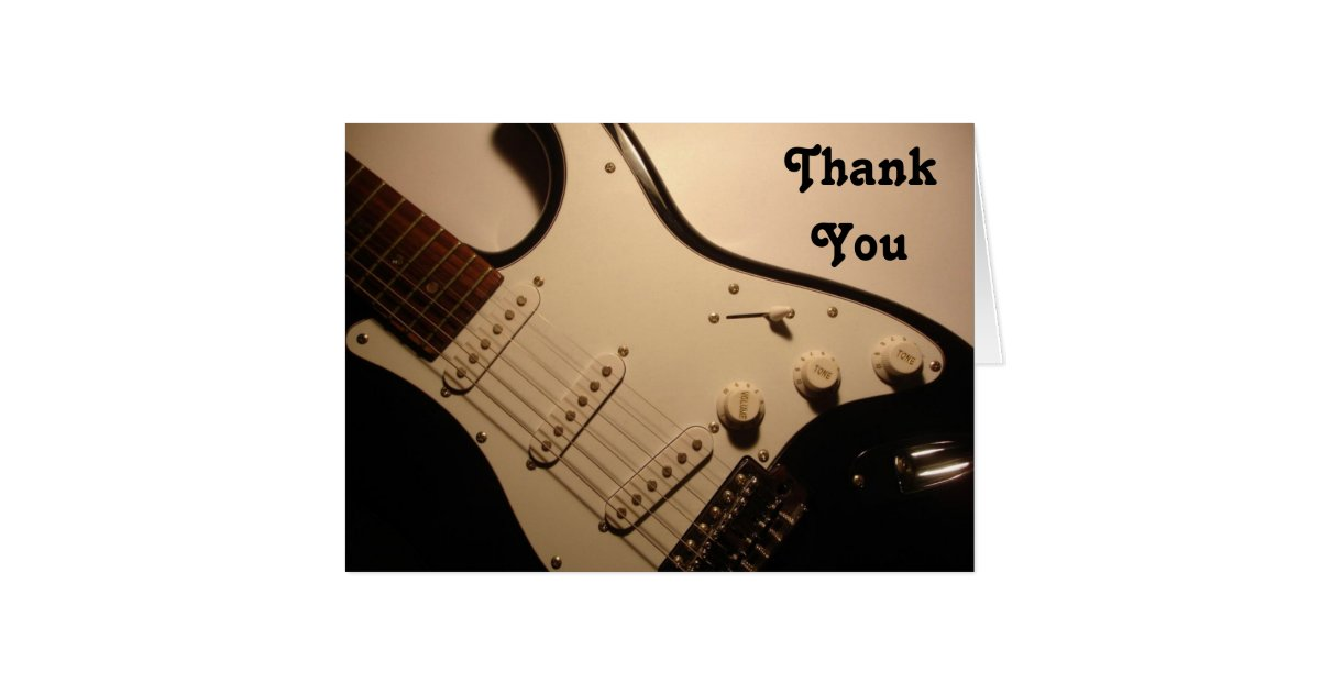 Electric Guitar Thank You Note Card Zazzle