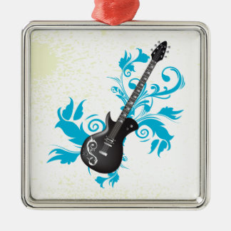 Electric guitar turquoise leaves custom ornament