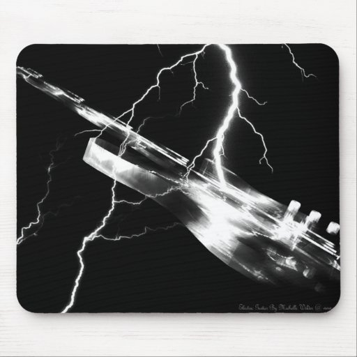 ELECTRIC GUITAR white Mouse Pad