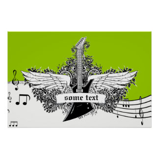 Electric guitar wings black white lime print