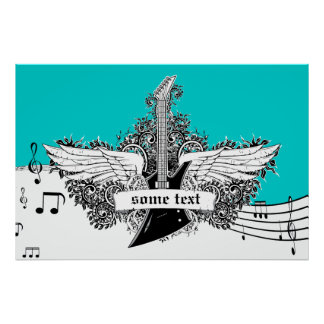 Electric guitar wings black white turquoise print
