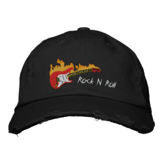 Electric Guitar With Flames Embroidered Cap