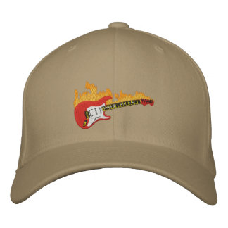 Electric Guitar With Flames Embroidered Cap Embroidered Baseball Caps