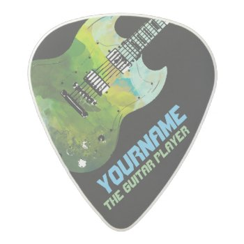 Electric-guitar With Your Name & The Band  Acetal Guitar Pick by mixedworld at Zazzle
