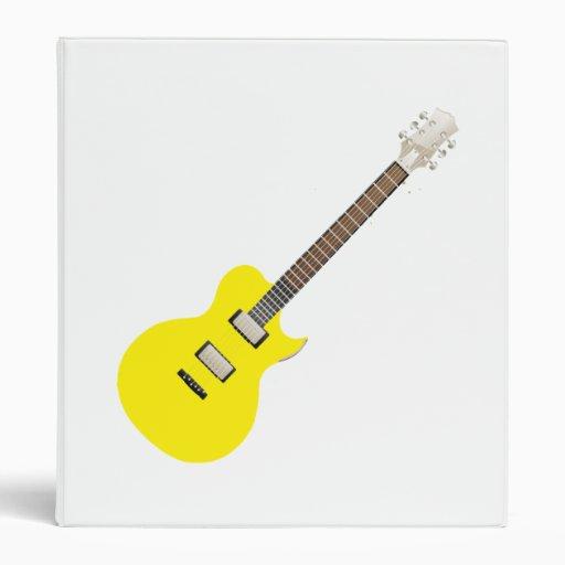 electric guitar yellow .png 3 ring binder