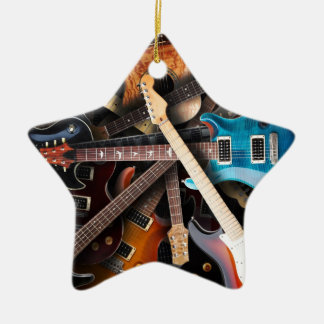 Electric Guitars Concept Double-Sided Star Ceramic Christmas Ornament