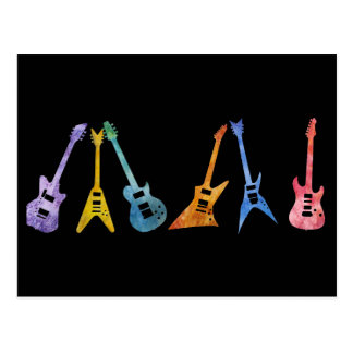 Electric Guitars in Electric Colors Postcard