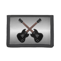Electric Guitars on Gray Teen Guys Wallet