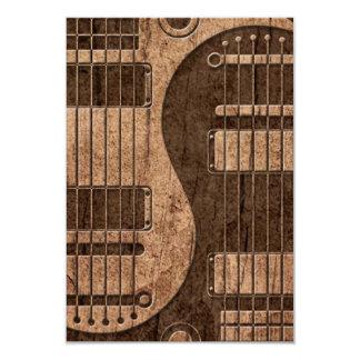 Electric Guitars Yin Yang with Wood Grain Effect 3.5x5 Paper Invitation Card