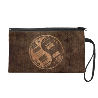 Electric Guitars Yin Yang with Wood Grain Effect Wristlet Clutches