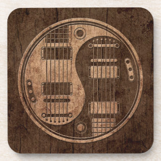 Electric Guitars Yin Yang with Wood Grain Effect Beverage Coaster