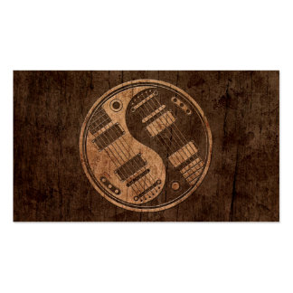Electric Guitars Yin Yang with Wood Grain Effect Business Card