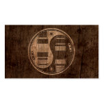 Electric Guitars Yin Yang with Wood Grain Effect Business Card Templates