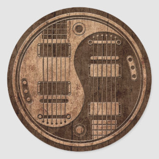 Electric Guitars Yin Yang with Wood Grain Effect Classic Round Sticker