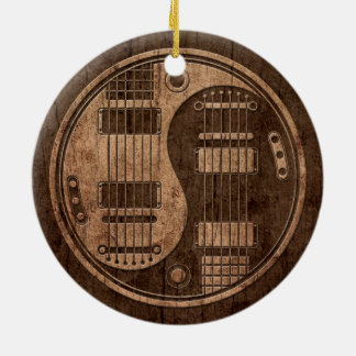 Electric Guitars Yin Yang with Wood Grain Effect Double-Sided Ceramic Round Christmas Ornament