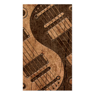 Electric Guitars Yin Yang with Wood Grain Effect Double-Sided Standard Business Cards (Pack Of 100)