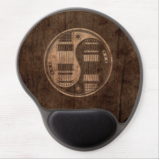 Electric Guitars Yin Yang with Wood Grain Effect Gel Mouse Mat