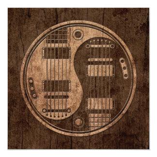 Electric Guitars Yin Yang with Wood Grain Effect Invitation