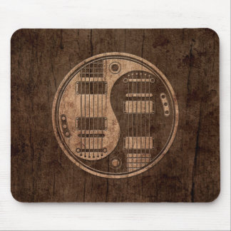 Electric Guitars Yin Yang with Wood Grain Effect Mouse Pad