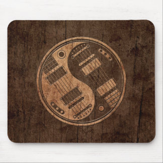 Electric Guitars Yin Yang with Wood Grain Effect Mouse Pads