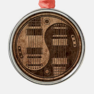 Electric Guitars Yin Yang with Wood Grain Effect Round Metal Christmas Ornament