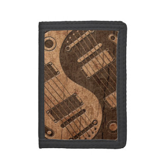 Electric Guitars Yin Yang with Wood Grain Effect Trifold Wallets