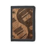 Electric Guitars Yin Yang with Wood Grain Effect Tri-fold Wallet