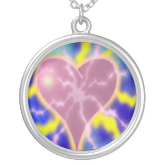 Electric Heart Round Pendant Necklace