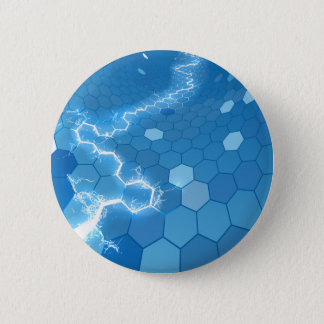 Electric Hexagon Honeycomb Background Pinback Button
