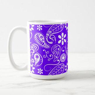 Electric Indigo Paisley; Floral Classic White Coffee Mug