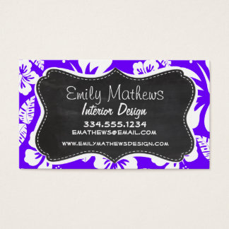 Electric Indigo Tropical Hibiscus; Chalkboard Business Card