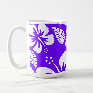 Electric Indigo Tropical Hibiscus Classic White Coffee Mug