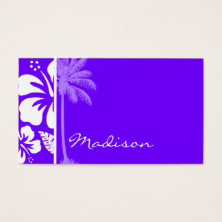 Electric Indigo Tropical Hibiscus; Palm Business Card