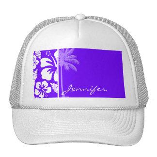 Electric Indigo Tropical Hibiscus; Palm Hat