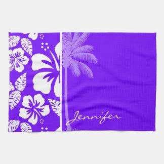 Electric Indigo Tropical Hibiscus; Palm Hand Towel