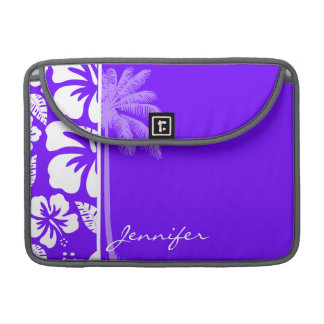 Electric Indigo Tropical Hibiscus; Palm MacBook Pro Sleeve